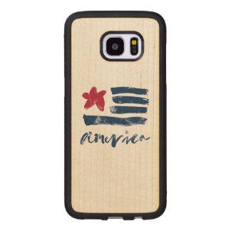 American Flag Paintstrokes Wood Samsung Galaxy S7 Edge Case