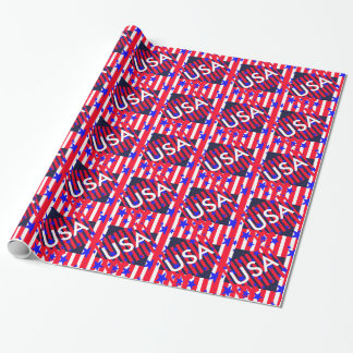 American Flag Patriotic 4th of July Party Wrapping Paper