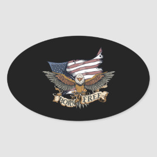 American Flag Patriotic Bald Eagle Born Free Oval Sticker