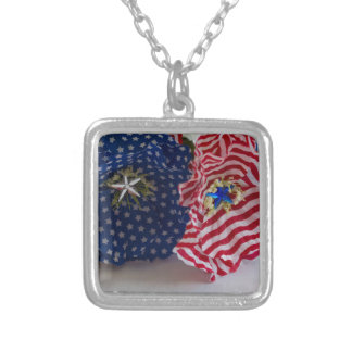American Flag Patriotic Flower Bouquet Silver Plated Necklace