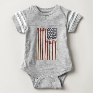 American Flag patriotic Guitar Music theme Baby Bodysuit