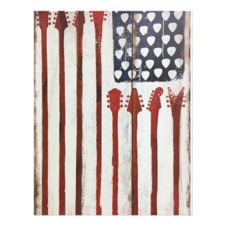 American Flag patriotic Guitar Music theme Letterhead
