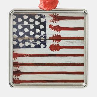 American Flag patriotic Guitar Music theme Metal Ornament