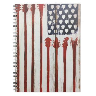 American Flag patriotic Guitar Music theme Notebook