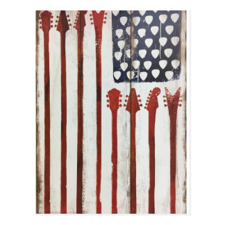 American Flag patriotic Guitar Music theme Postcard