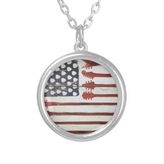 American Flag patriotic Guitar Music theme Silver Plated Necklace