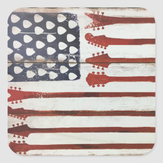 American Flag patriotic Guitar Music theme Square Sticker