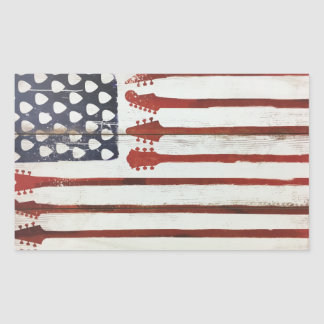 American Flag patriotic Guitar Music theme Sticker