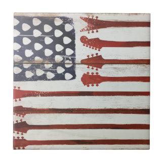 American Flag patriotic Guitar Music theme Tile