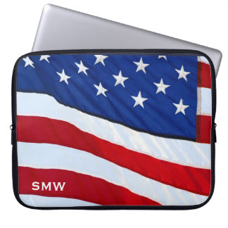 American Flag Patriotic Monogram Notebook Sleeve