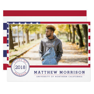 American Flag | Patriotic Photo Graduation Party Card