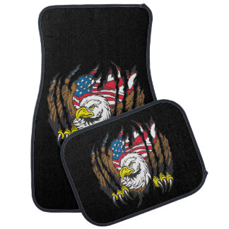 American Flag Patriotic Red White Blue Eagle Car Mat