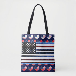 American Flag Patriotic Red White Blue Tote Bag