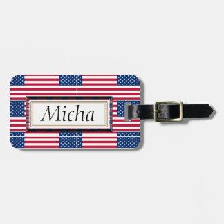 American Flag Pattern Monogram Luggage Tag
