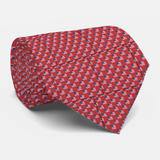 American Flag Pattern Tie Deep Red Burgundy