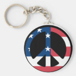 American Flag Peace Key Chain