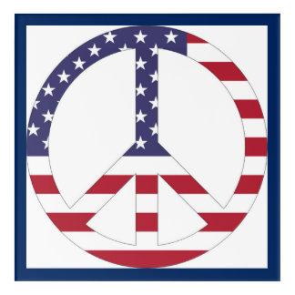 AMERICAN FLAG PEACE SIGN ACRYLIC WALL ART