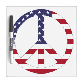 AMERICAN FLAG PEACE SIGN DRY ERASE BOARD