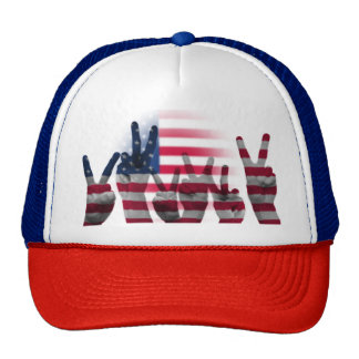 American Flag Peace Sign Fingers Trucker Hat