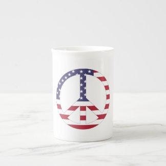 AMERICAN FLAG PEACE SIGN TEA CUP