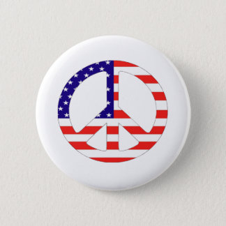American Flag Peace Symbol 2 Inch Round Button