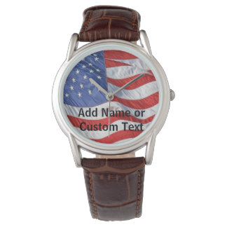 American Flag Personalized Men's Watch