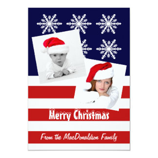 "American flag photo template Christmas holiday 5"" X 7"" Invitation Card"