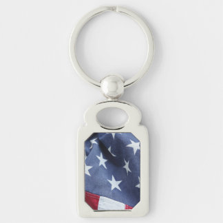 American flag Silver-Colored rectangle keychain