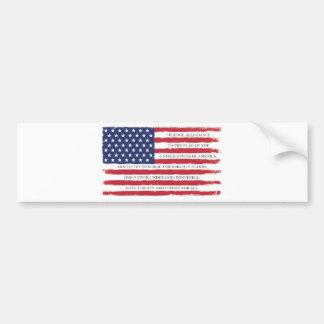 American flag Pledge Vintage Bumper Sticker