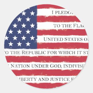 American flag Pledge Vintage Classic Round Sticker