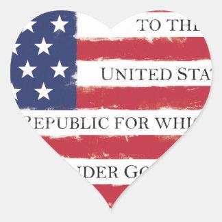 American flag Pledge Vintage Heart Sticker