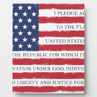 American flag Pledge Vintage Plaque