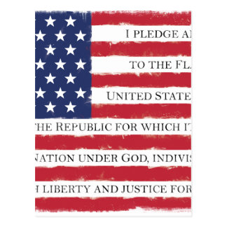 American flag Pledge Vintage Postcard