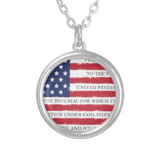American flag Pledge Vintage Silver Plated Necklace