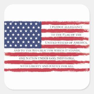 American flag Pledge Vintage Square Sticker