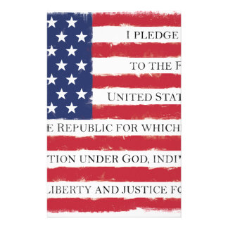 American flag Pledge Vintage Stationery