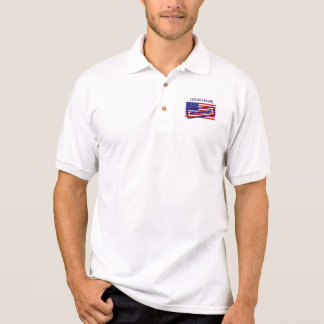 American Flag Polo Shirt Stamped American
