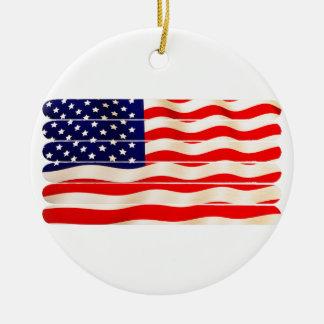 American Flag Popsicle Stick Folkart Round Ceramic Ornament