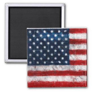 American Flag Portrait Square Magnet