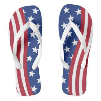 American flag print on adult Wide Straps Flip Flops