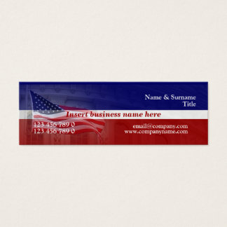 American flag professional red white blue mini business card
