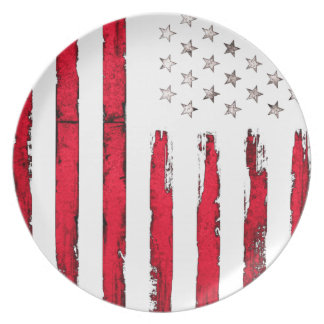 American flag Red Grunge Party Plates