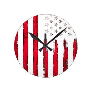 American flag Red Grunge Round Clock