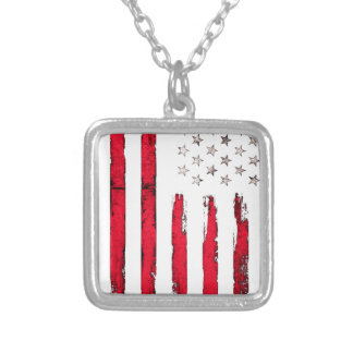 American flag Red Grunge Silver Plated Necklace