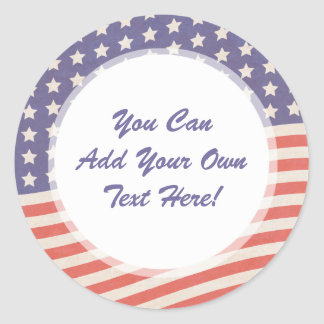 American Flag - Red, White and Blue 4th of July Classic Round Sticker