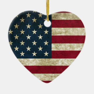 American Flag Red White And Blue Flag Ceramic Ornament