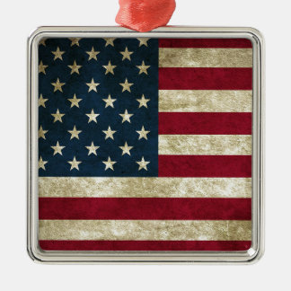 American Flag Red White And Blue Flag Metal Ornament