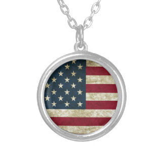 American Flag Red White And Blue Flag Silver Plated Necklace