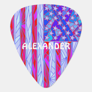 American Flag Red White And Blue Fun Personalized Guitar Pick