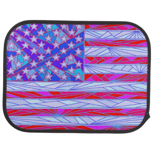 American Flag Red White And Blue Patriotic Rear Car Mat